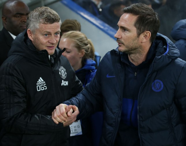 Manager Ole Gunnar Solskjaer of Manchester United is greeted by Manager Frank Lampard of Chelsea ahead of the Carabao Cup Round of 16 match between Chelsea FC and Manchester United at Stamford Bridge on October 30, 2019 in London, England.
