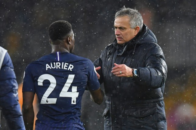 Serge Aurier chats with Jose Mourinho during Tottenham's Premier League clash with Wolves