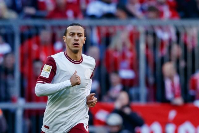 Liverpool transfer target Thiago Alcantara during Bayern Munich's clash with Augsburg