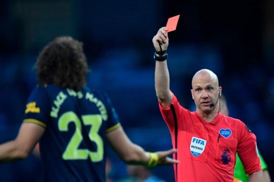 David Luiz was sent off during Arsenal's 3-0 defeat against Man City last month