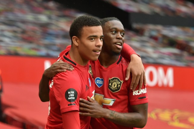 Mason Greenwood and Aaron Wan-Bissaka celebrate during Manchester United's Premier League victory over Bournemouth