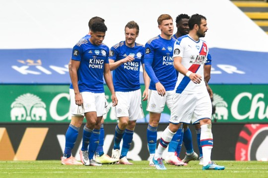Leicester players celebrating during their Premier League victory over Crystal Palace