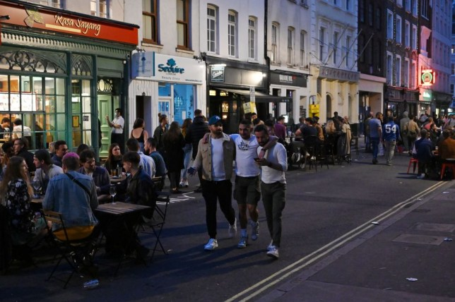 a group of friends in soho, london