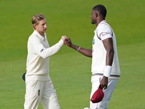 Joe Root and Jason Holder react after England beat West Indies in series decider