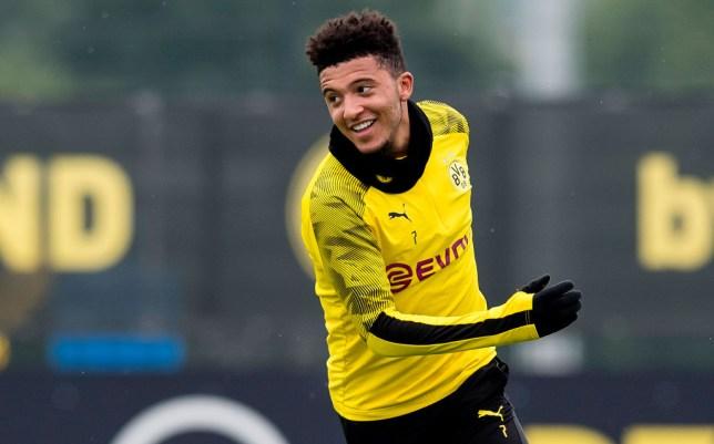 Jadon Sancho of Borussia Dortmund is seen during a training session of Borussia Dortmund on June 10, 2020 in Dortmund, Germany.