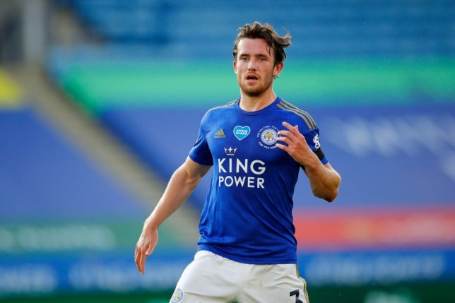 Chelsea transfer target Ben Chilwell looks on during Leicester's Premier League clash with Brighton