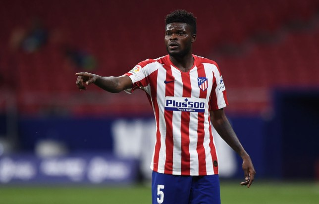 Thomas Partey of Atletico Madrid reacts during the Liga match between Club Atletico de Madrid and Deportivo Alaves at Wanda Metropolitano on June 27, 2020 in Madrid, Spain.