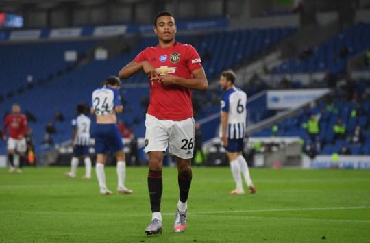 Mason Greenwood celebrates scoring Manchester United's opener at Brighton