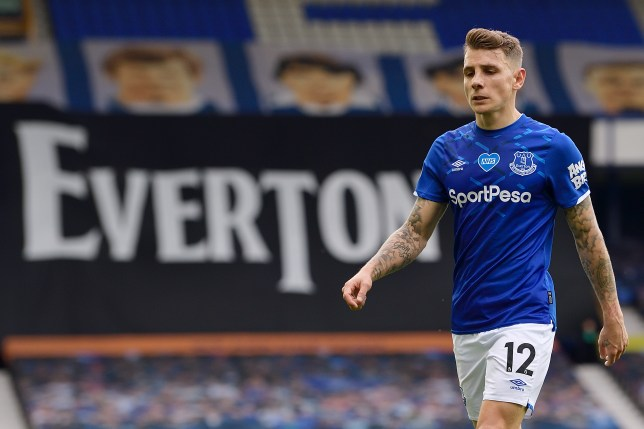 Chelsea transfer target Lucas Digne looks on during Everton's Premier League clash with Leicester