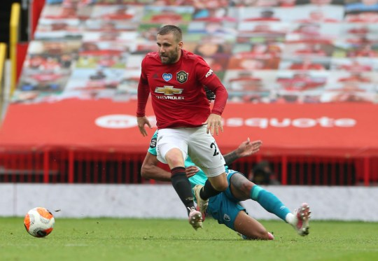 Luke Shaw runs with the ball during Manchester United's Premier League clash with Bournemouth