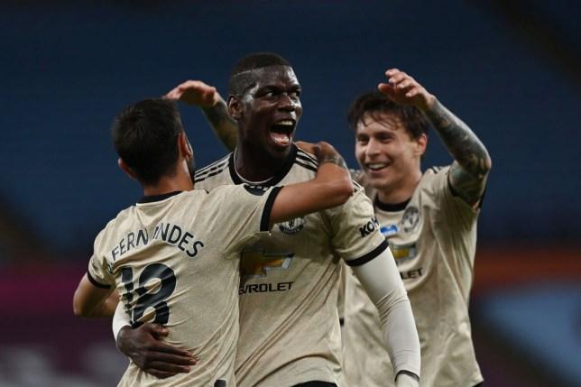 Paul Pogba celebrates as Manchester United set Premier League goalscoring record in win over Aston Villa