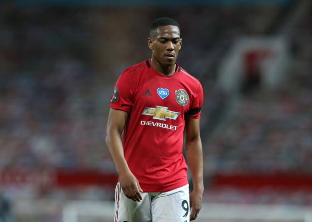 Anthony Martial looks on during Manchester United's Premier League clash with Southampton