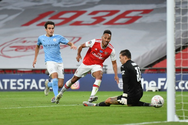 Pierre-Emerick Aubameyang scored twice during Arsenal's FA Cup semi-final against Manchester City