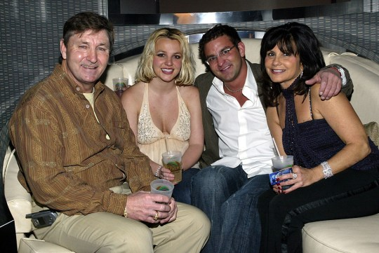 Britney Spears pictured with her father, mother and brother