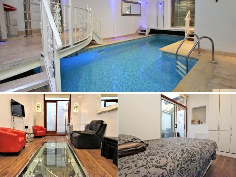Two-bed flat looks normal at first – but there's a swimming pool and sauna in the basement