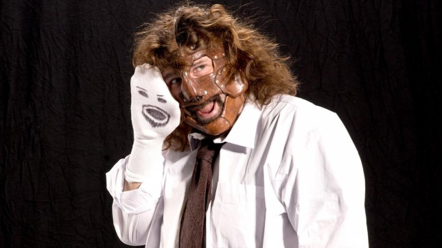 WWE legend Mick Foley as Mankind with Mr Socko