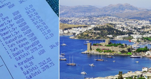 Composite image of receipt and Bodrum, Turkey