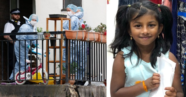 Sayagi Sivanantham, 5, was stabbed to death at a flat in Mitcham, South London.