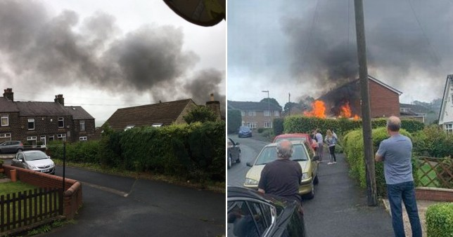A man has been airlifted to hospital in Leeds after a van explosion near Huddersfield.