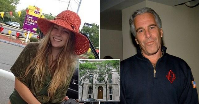 Caroline Kaufman (left), deceased paedophile billionaire Jeffrey Epstein (right) and his New York mansion (middle)