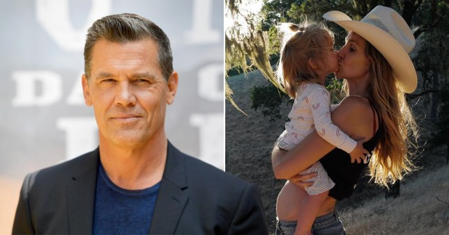 Josh Brolin pictured separately alongside wife Kathryn kissing daughter Westlyn and showing baby bump