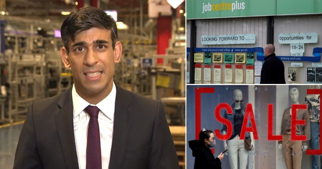 Chancellor Rishi Sunak speaking to Sky News (left), a Job Centre Plus and a woman wearing a face mask walking past a clothes shop with a sales sign