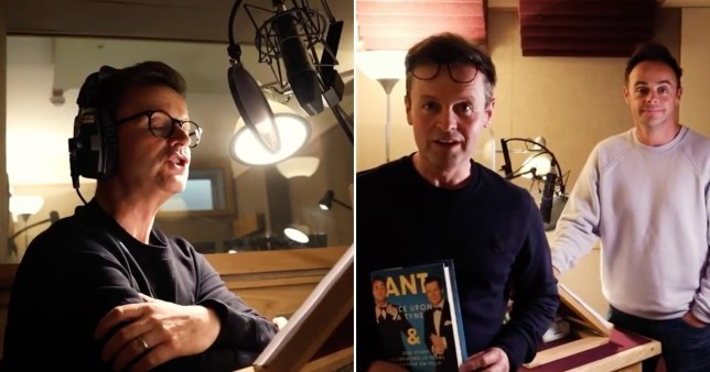 Ant and Dec pictured in studio recording audio book