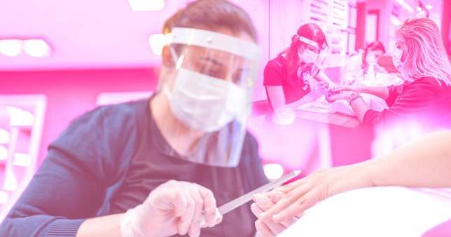 A nail technician doing a customer's nails with another doing it in the background, with a pink overlay on the image.