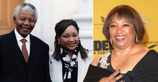 Zindzi Mandela with her father Nelson Mandela and on her own, after his death