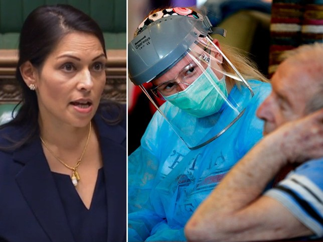 Composite image of Home Secretary Priti Patel and care workers