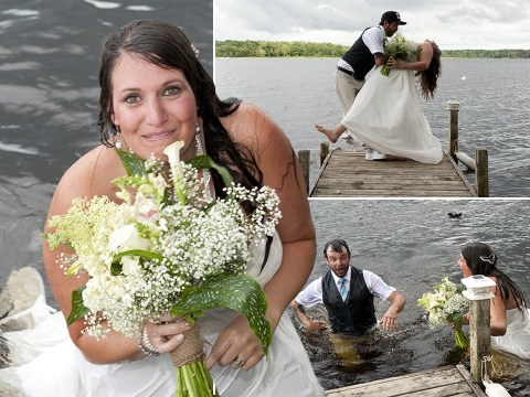 Couple fall into river while dancing on pier during wedding photoshoot