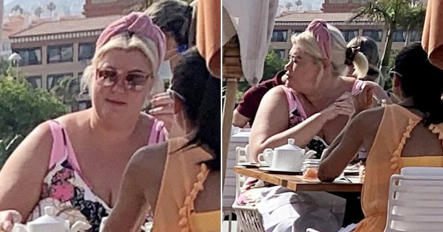 Gemma Collins pictured having breakfast at hotel in Tenerife