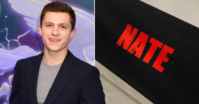Tom Holland pictured alongside name of his Uncharted character Nate