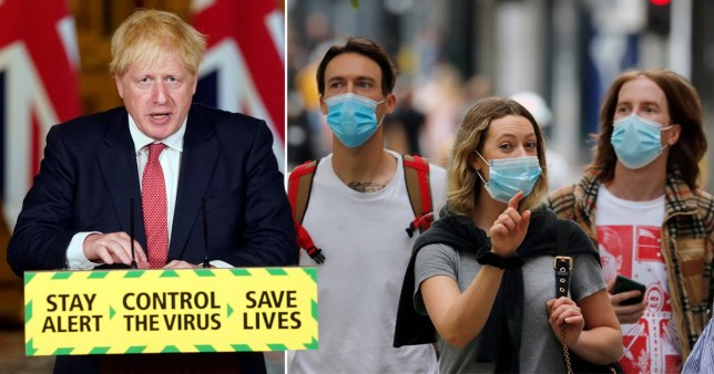 Composite image of Boris Johnson and people in face masks