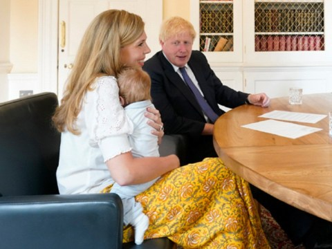 Boris and Carrie share new photo of baby Wilfred meeting midwives