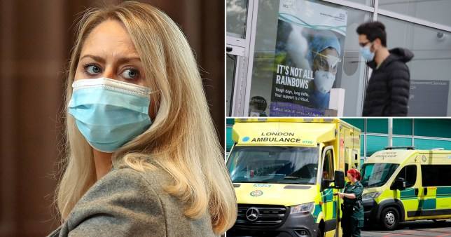 A woman in a face mask and ambulances with paramedics