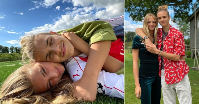 Romeo Beckham pictured with girlfriend Mia Regan