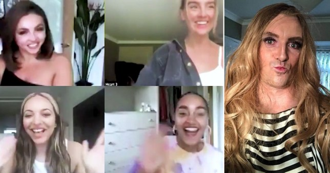 Little Mix join video call with Heart FM pictured alongside dad dressed up as Perrie Edwards