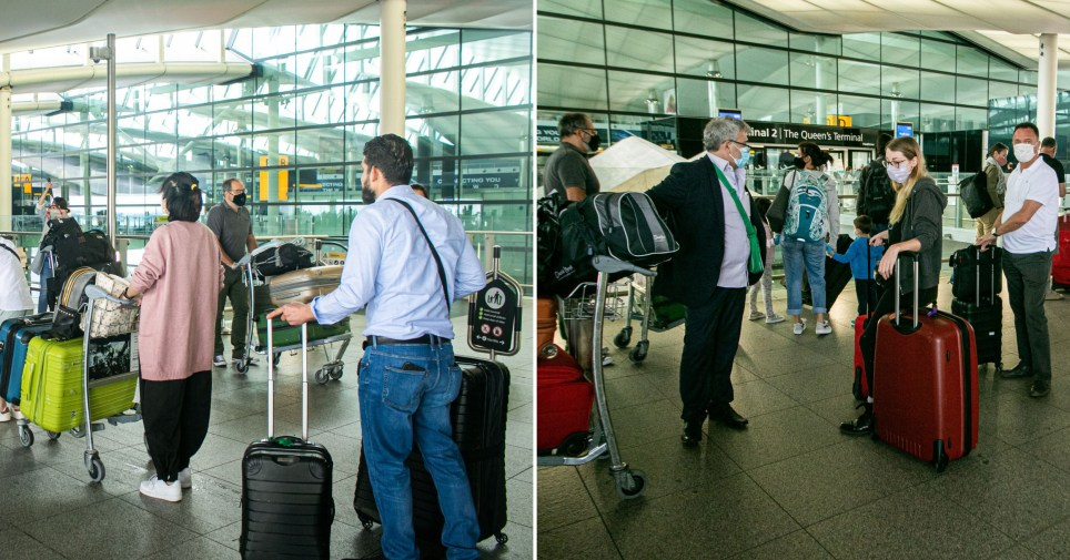 Queues of passengers at Heathrow Airport