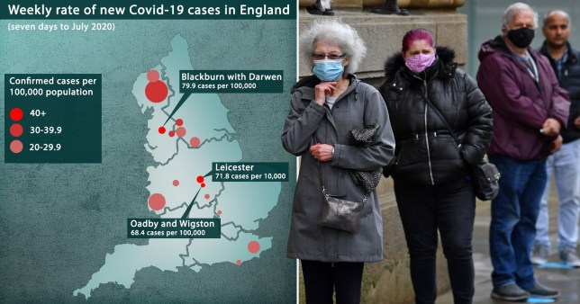 Composite image infections map and people wearing a face mask