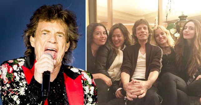 Mick Jagger pictured with his four daughters, Karis, Jade, Georgia May and Elizabeth