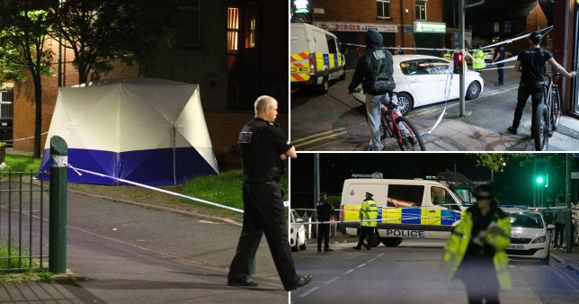 Police officers working on Henbury Street. A 17 year old boy has been stabbed to death and three others stabbed causing injuries , in the Moss Side area of South Manchester this evening.