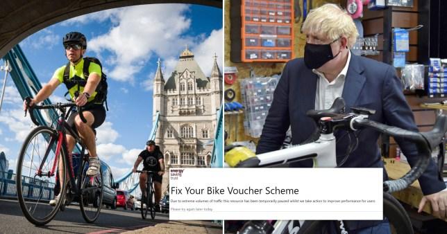 Prime Minister Boris Johnson's Fix Your Bike voucher website crashed at launch