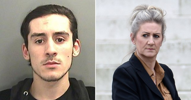 Che Siirak, 24, of Barry, South Wales (left) who was arrested for driving offences and mother Tracey Latham, 56, outside Cardiff Crown Court after offering friends on Facebook £1,000 to say they were behind the wheel