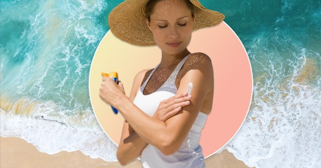 woman putting on suncream with a beach background