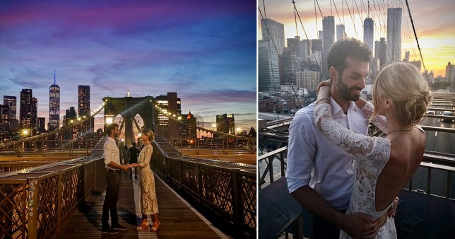 Couple getting married on bridge