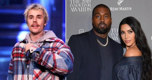 Justin Bieber pictured alongside Kim Kardashian and Kanye West