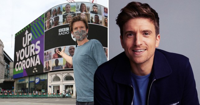 Greg James pictured in Piccadilly Circus