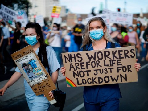 'Clapping won't pay my bills': NHS workers march in London to demand pay rise