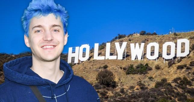 Ninja and the Hollywood sign